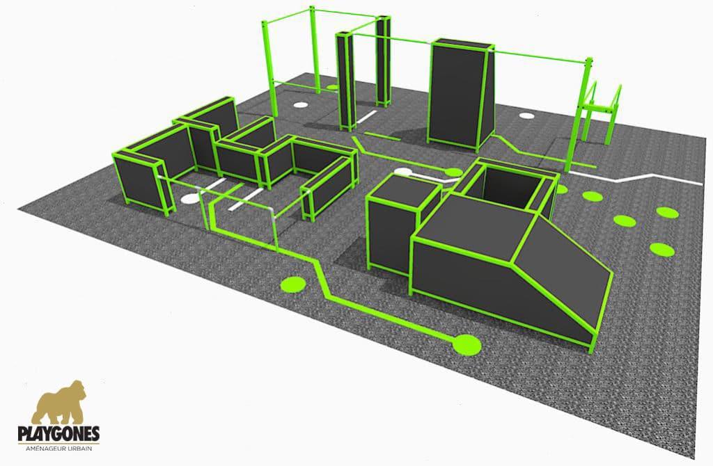 parc de parkour en 3D pour s'entraîner à l'art du Déplacement