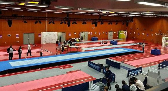 Installation de praticables de gymnastique de l'entrainement a la competition