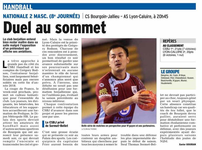 article, handball, bourgoin