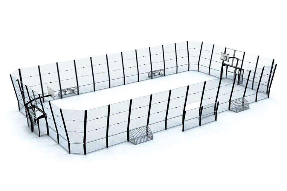 Maquette d'un Omnistadium standard E, avec des pares-ballons hauts