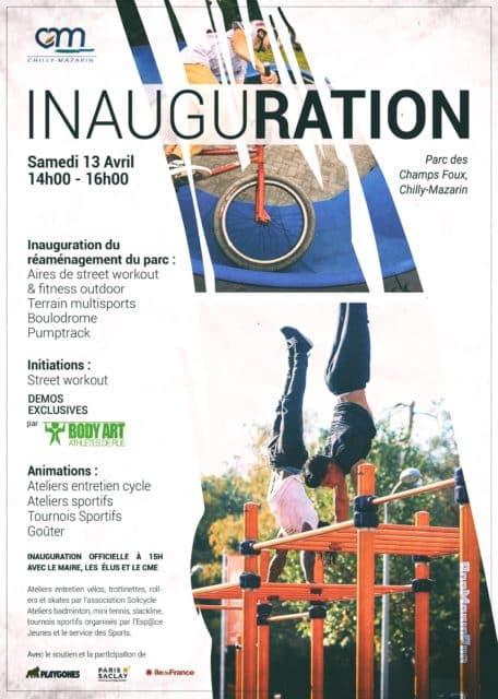 Affiche pour l'inauguration du réaménagement du parc dans la commune de Chilly-Mazarin