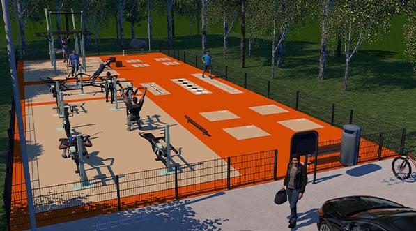 Vue 3d d'un aménagement d'une station de musculation outdoor par Omnigym