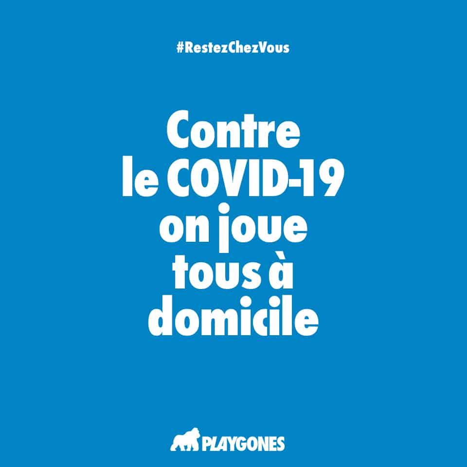 Campagne web de prévention COVID19 par Playgones - poster bleu