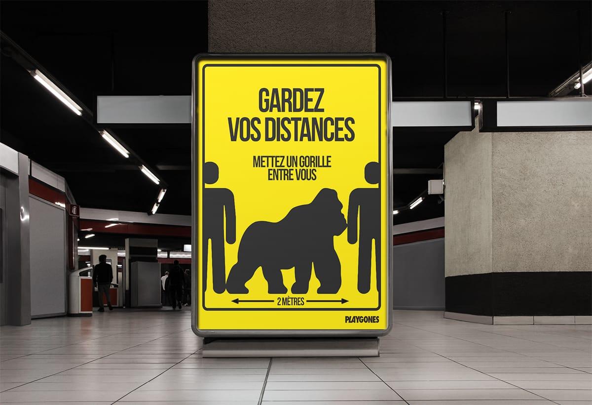 Campagne visuelle de distanciation sociale Covid19