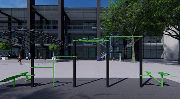 structure de fitness connectée sur le parvis de la gare