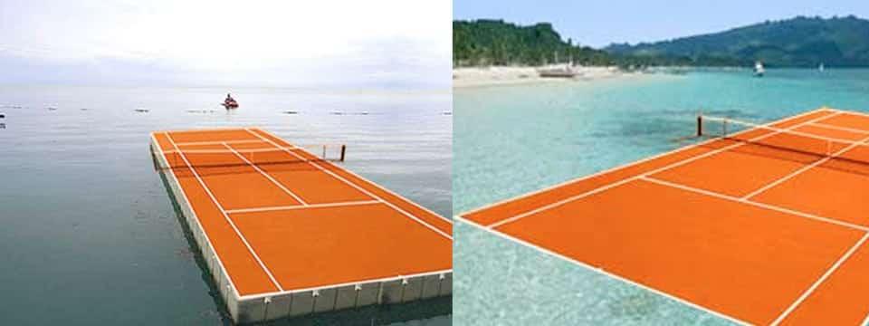 Terrain de tennis artistique flottant par Laurent Perbos