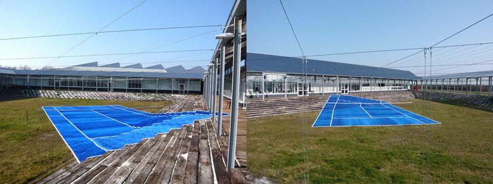 Terrain de tennis artistique par l'artiste Laurent Perbos